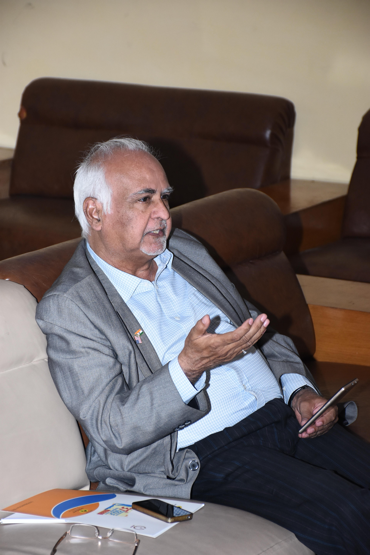 Mr. Naresh Kumar Sagar interacting with the panelists during Press Meet